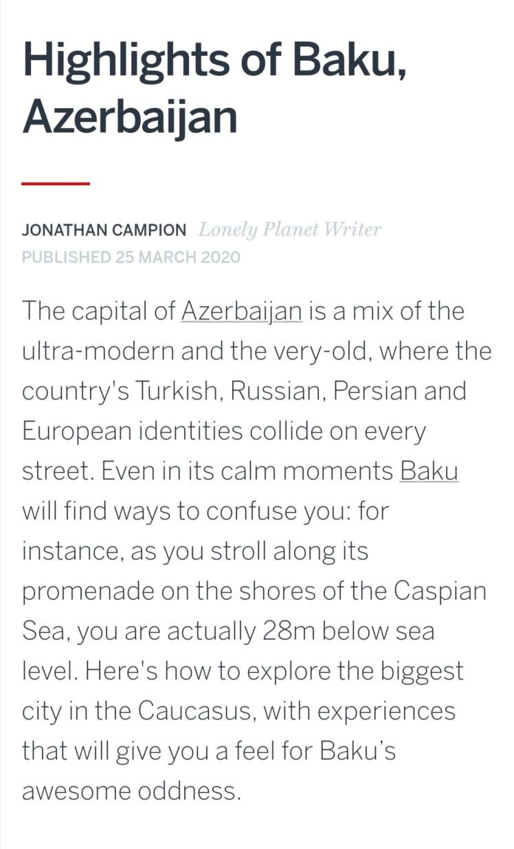 Lonely Planet Baku Azerbaijan